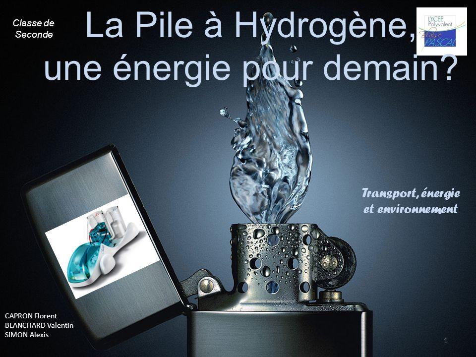 1 Transport, énergie et environnement CAPRON Florent BLANCHARD Valentin SIMON Alexis La Pile à Hydrogène, une énergie pour demain? Classe de Seconde