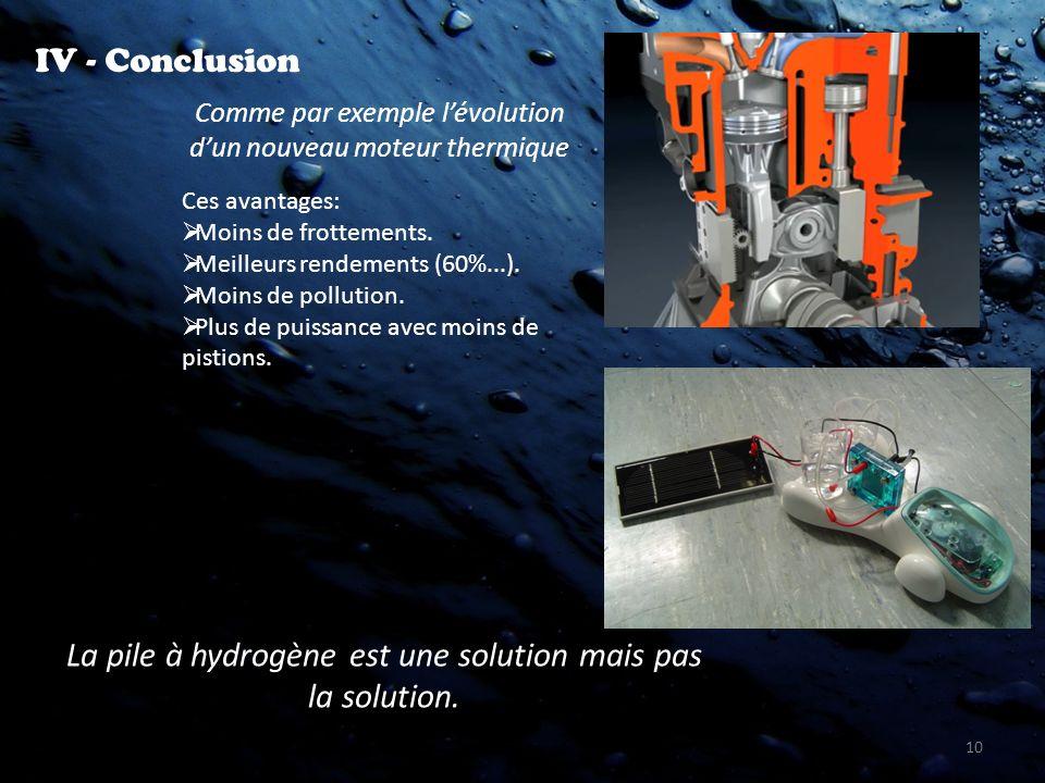 10 IV - Conclusion La pile à hydrogène est une solution mais pas la solution. Comme par exemple lévolution dun nouveau moteur thermique Ces avantages: