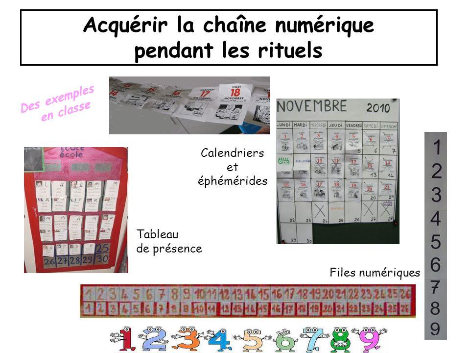 Calendriers et éphémérides Files numériques Tableau de présence 12 Acquérir la chaîne numérique pendant les rituels Des exemples en classe