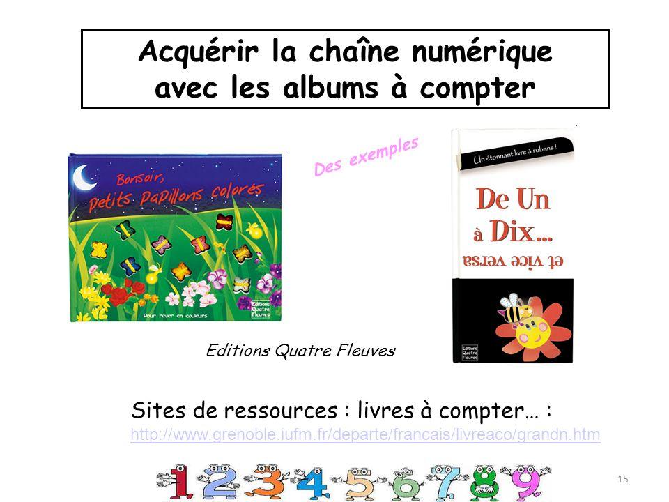 Sites de ressources : livres à compter… : http://www.grenoble.iufm.fr/departe/francais/livreaco/grandn.htm 15 Acquérir la chaîne numérique avec les albums à compter Editions Quatre Fleuves Des exemples