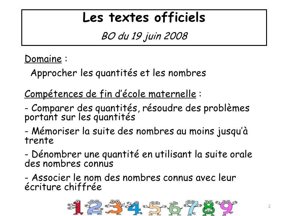 Les textes officiels BO du 19 juin 2008 Domaine : Approcher les quantités et les nombres Compétences de fin décole maternelle : - Comparer des quantités, résoudre des problèmes portant sur les quantités - Mémoriser la suite des nombres au moins jusquà trente - Dénombrer une quantité en utilisant la suite orale des nombres connus - Associer le nom des nombres connus avec leur écriture chiffrée 2