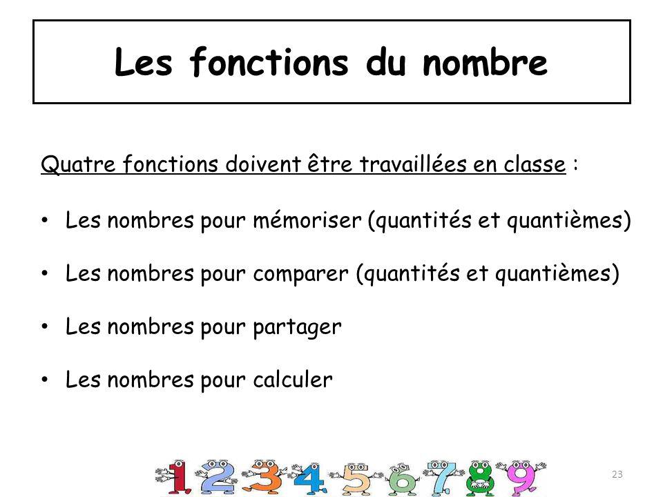 Les fonctions du nombre Quatre fonctions doivent être travaillées en classe : Les nombres pour mémoriser (quantités et quantièmes) Les nombres pour comparer (quantités et quantièmes) Les nombres pour partager Les nombres pour calculer 23