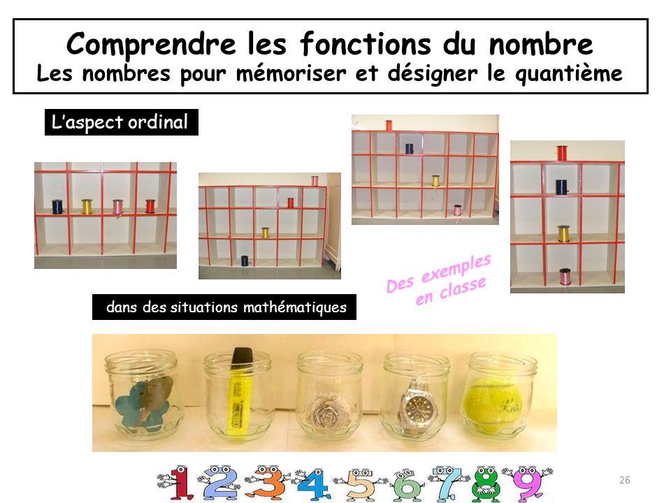 Comprendre les fonctions du nombre Les nombres pour mémoriser et désigner le quantième 26 Laspect ordinal Des exemples en classe dans des situations mathématiques