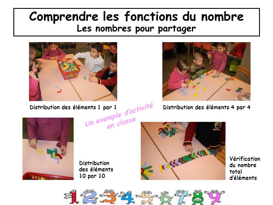 Comprendre les fonctions du nombre Les nombres pour partager Distribution des éléments 1 par 1 Distribution des éléments 10 par 10 Vérification du nombre total déléments Distribution des éléments 4 par 4 Un exemple dactivité en classe