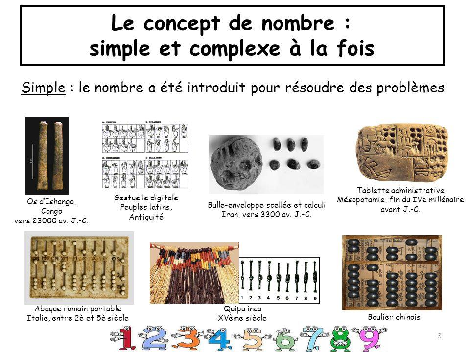 Le concept de nombre : simple et complexe à la fois Complexe : le nombre a plusieurs représentations les nombres sont liés entre eux le nombre a 2 aspects : cardinal et ordinal