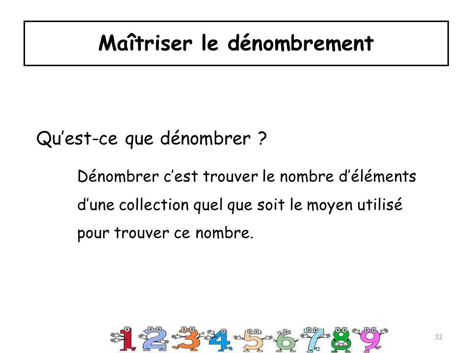 Maîtriser le dénombrement Dénombrer cest trouver le nombre déléments dune collection quel que soit le moyen utilisé pour trouver ce nombre.