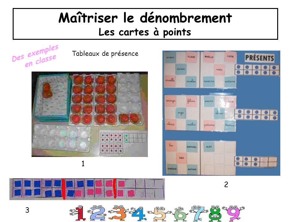 Maîtriser le dénombrement Les cartes à points Des exemples en classe Tableaux de présence 1 3 2