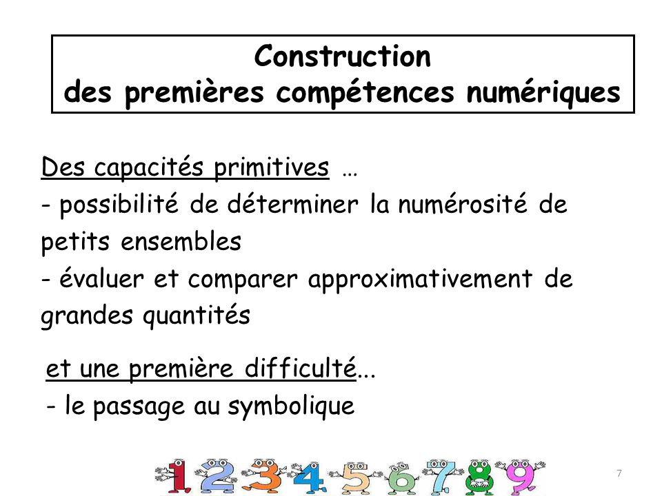 Des capacités primitives … - possibilité de déterminer la numérosité de petits ensembles - évaluer et comparer approximativement de grandes quantités Construction des premières compétences numériques 7 et une première difficulté...