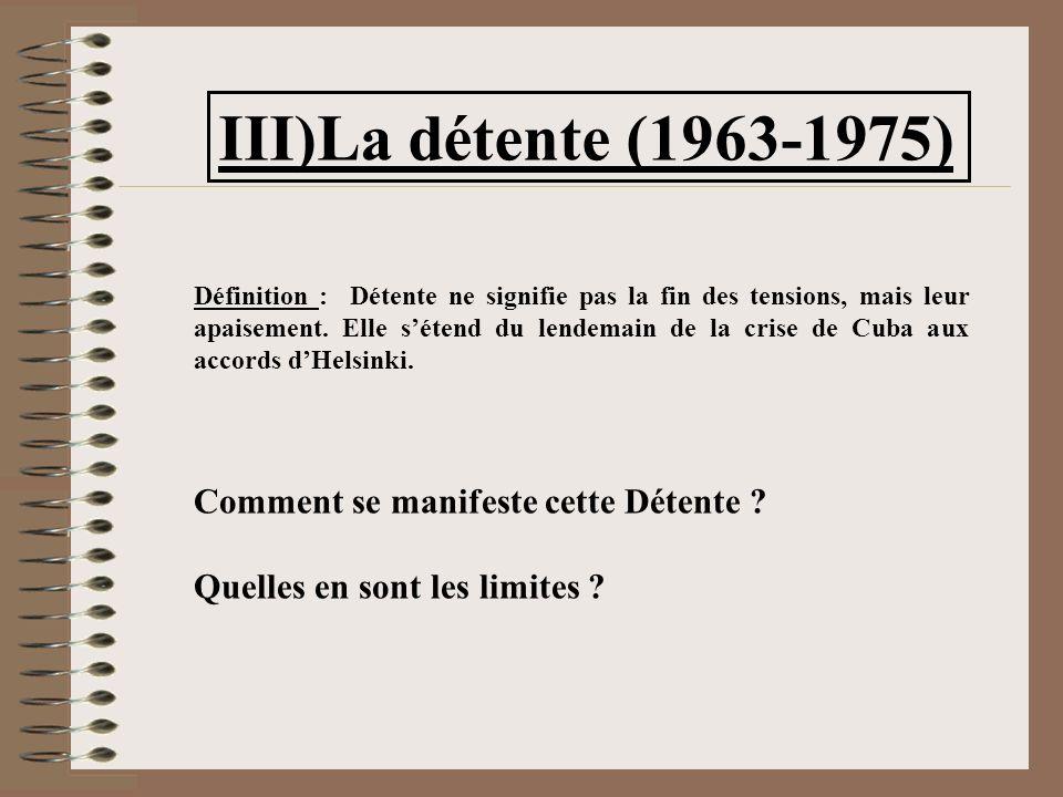 III)La détente (1963-1975) Définition : Détente ne signifie pas la fin des tensions, mais leur apaisement.