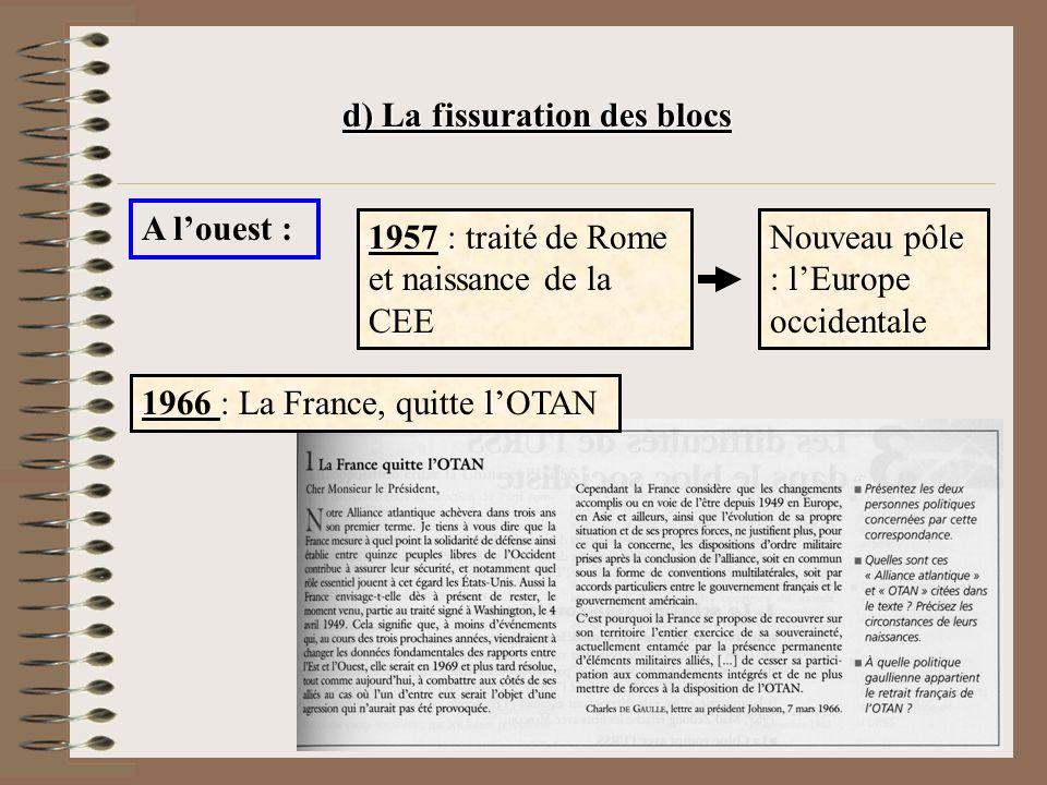 d) La fissuration des blocs A louest : 1957 : traité de Rome et naissance de la CEE Nouveau pôle : lEurope occidentale 1966 : La France, quitte lOTAN