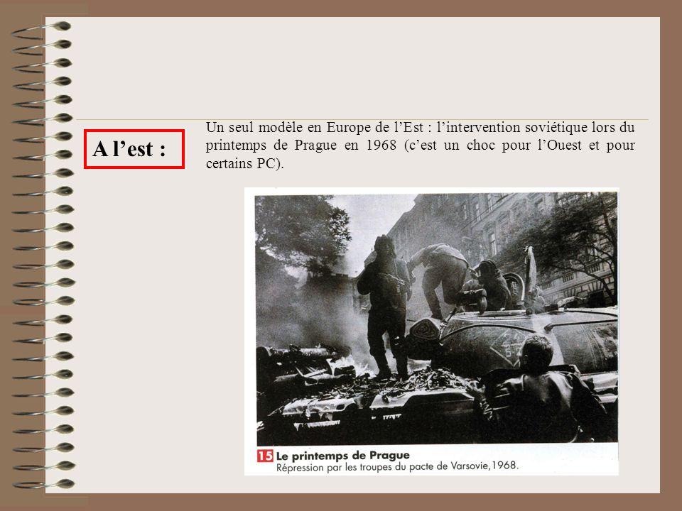 A lest : Un seul modèle en Europe de lEst : lintervention soviétique lors du printemps de Prague en 1968 (cest un choc pour lOuest et pour certains PC).