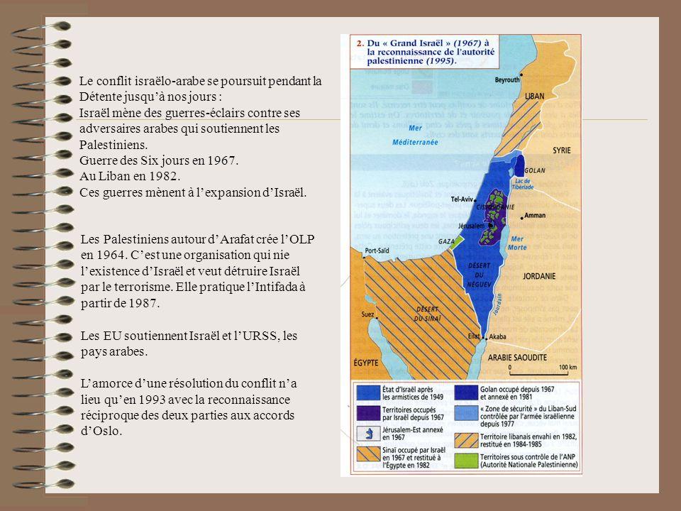Le conflit israëlo-arabe se poursuit pendant la Détente jusquà nos jours : Israël mène des guerres-éclairs contre ses adversaires arabes qui soutiennent les Palestiniens.