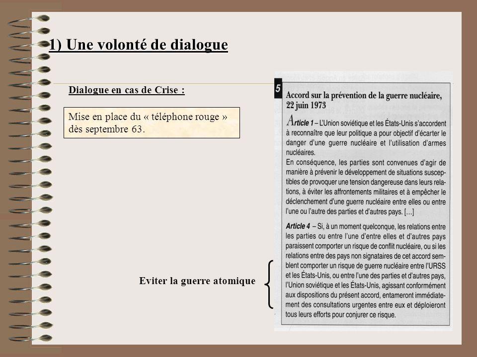 1) Une volonté de dialogue Dialogue en cas de Crise : Mise en place du « téléphone rouge » dès septembre 63.