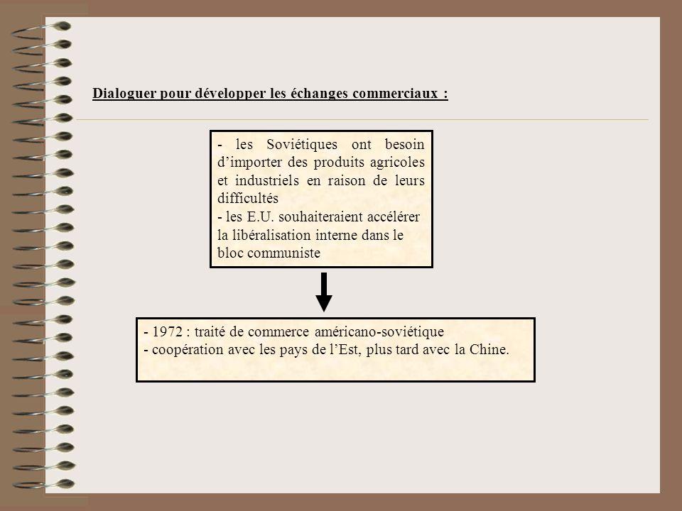 Dialoguer pour développer les échanges commerciaux : - 1972 : traité de commerce américano-soviétique - coopération avec les pays de lEst, plus tard avec la Chine.