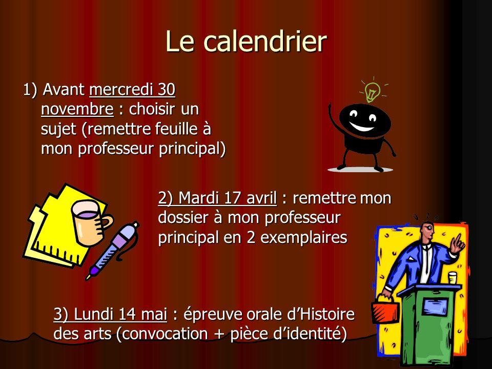 Le calendrier 1) Avant mercredi 30 novembre : choisir un sujet (remettre feuille à mon professeur principal) 2) Mardi 17 avril : remettre mon dossier