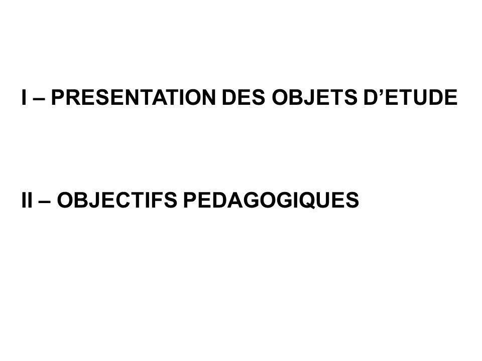 I – PRESENTATION DES OBJETS DETUDE II – OBJECTIFS PEDAGOGIQUES