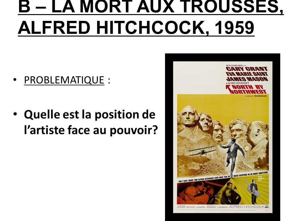 B – LA MORT AUX TROUSSES, ALFRED HITCHCOCK, 1959 PROBLEMATIQUE : Quelle est la position de lartiste face au pouvoir?