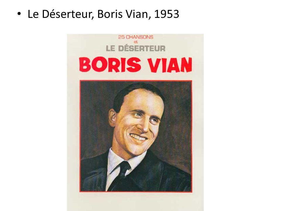 Le Déserteur, Boris Vian, 1953