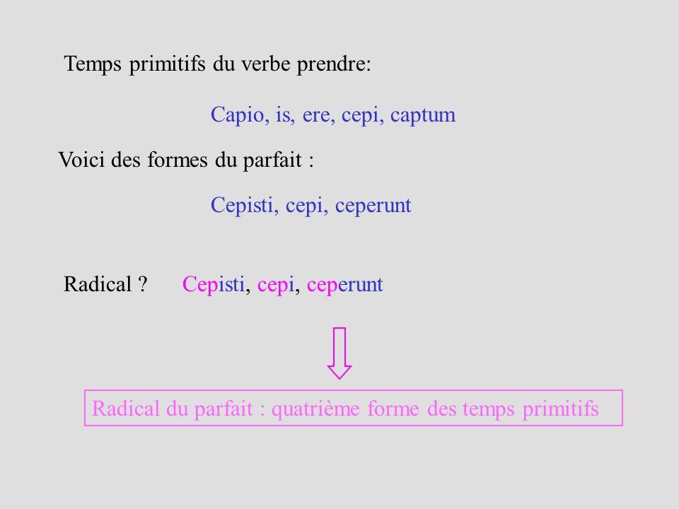 Capio, is, ere, cepi, captum Temps primitifs du verbe prendre: Voici des formes du parfait : Cepisti, cepi, ceperunt Radical ? Cepisti, cepi, ceperunt