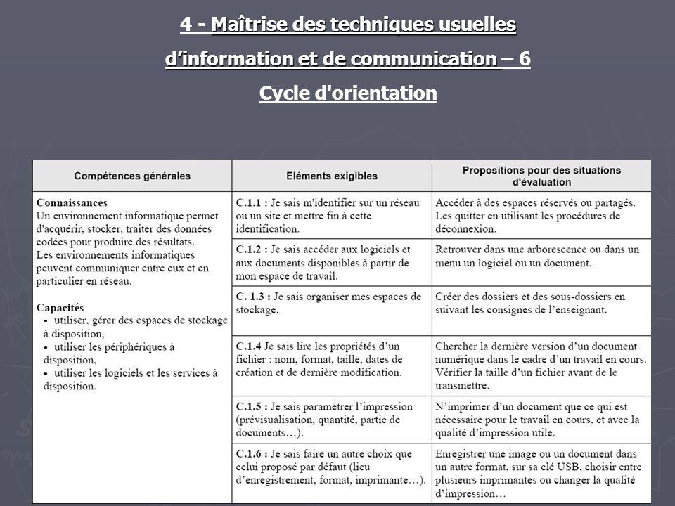 Maîtrise des techniques usuelles 4 - Maîtrise des techniques usuelles dinformation et de communication dinformation et de communication – 6-7 Cycle d orientation