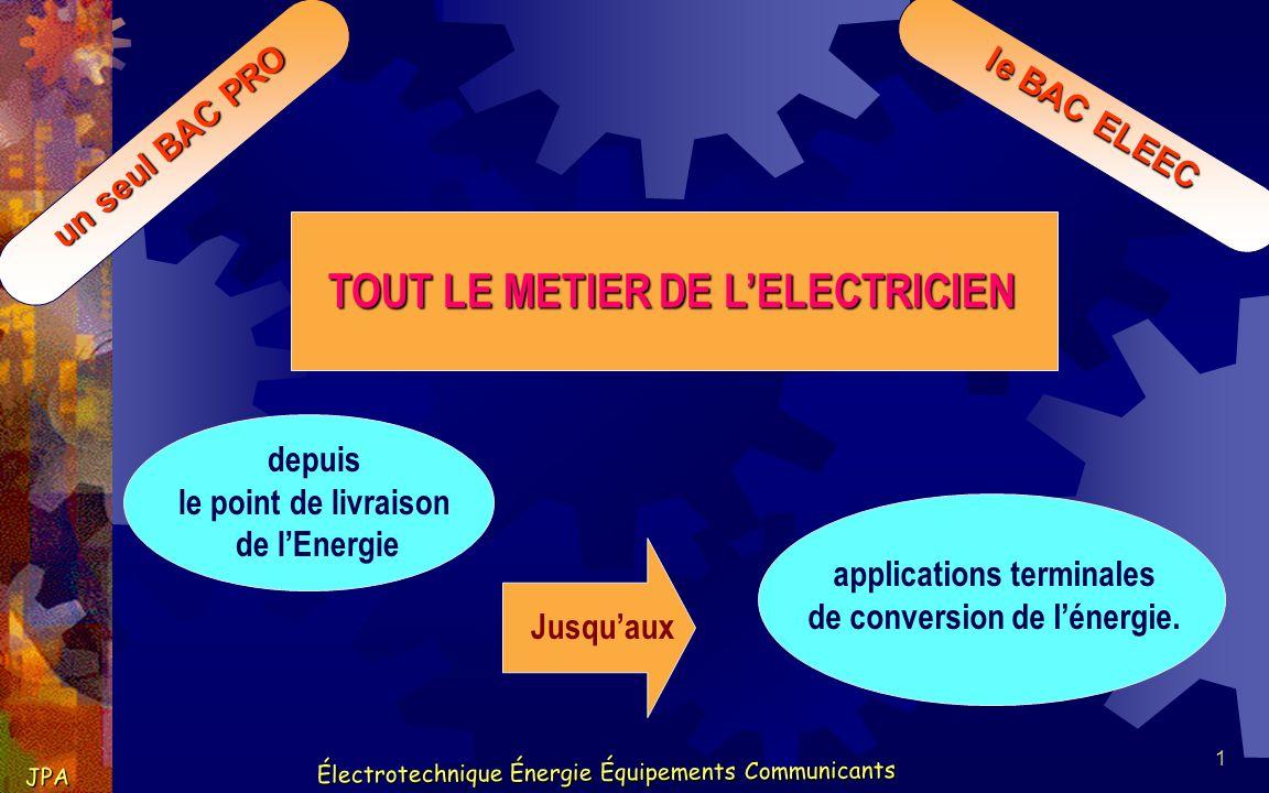 12 Électrotechnique Énergie Équipements Communicants JPA Électrotechnique Énergie Équipements Communicants un seul BAC PRO le BAC ELEEC Applications terminales industrielles.