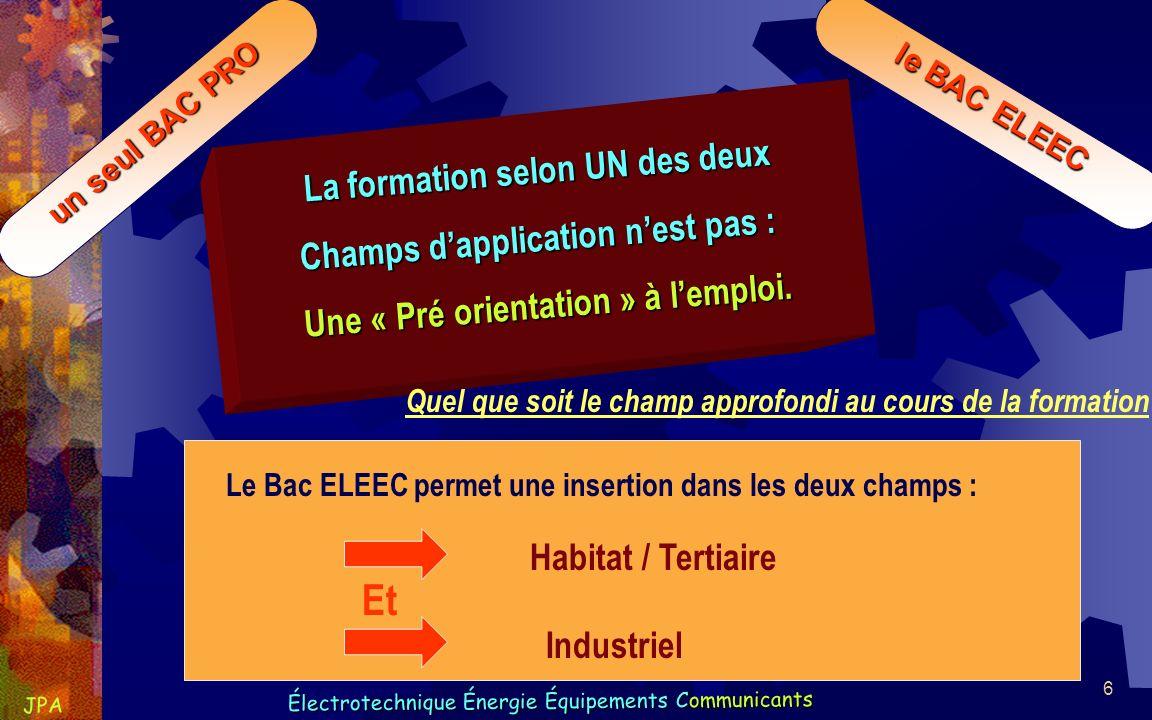 7 Électrotechnique Énergie Équipements Communicants JPA Électrotechnique Énergie Équipements Communicants un seul BAC PRO le BAC ELEEC Inscription Par son établissement à lexamen grâce à une codification différente selon le champ.