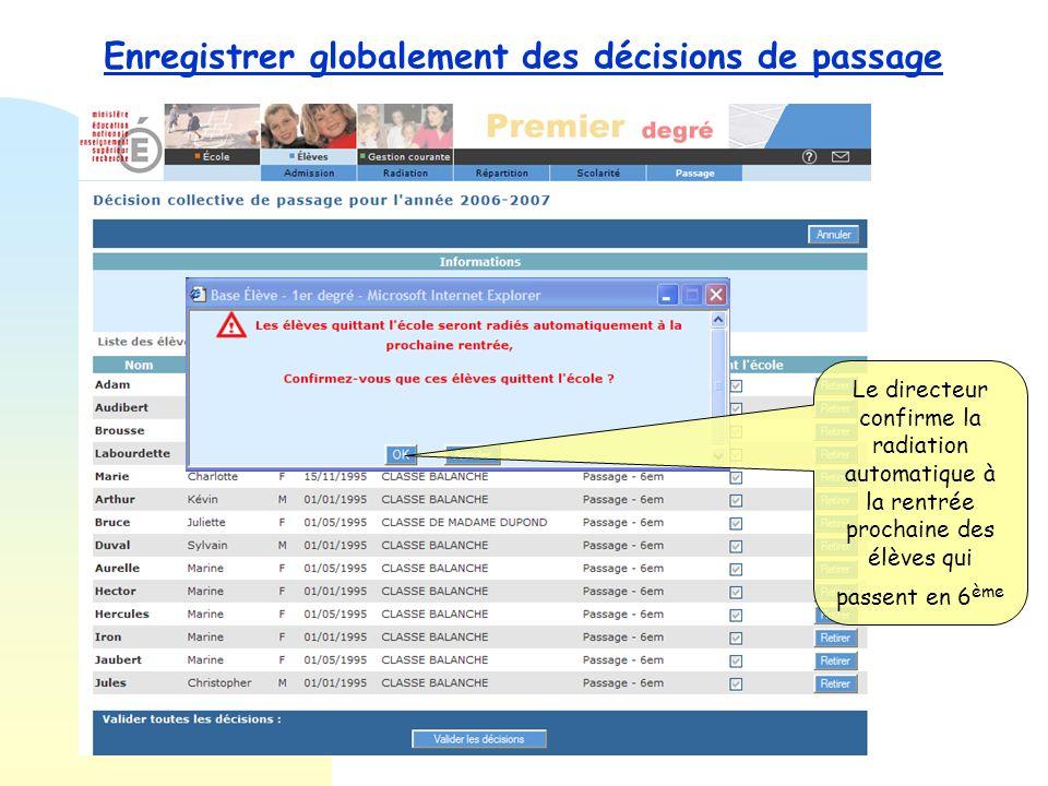 Enregistrer globalement des décisions de passage Tous les élèves passant en 6 ème sont cochés automatiquement par lapplication. Le directeur valide le