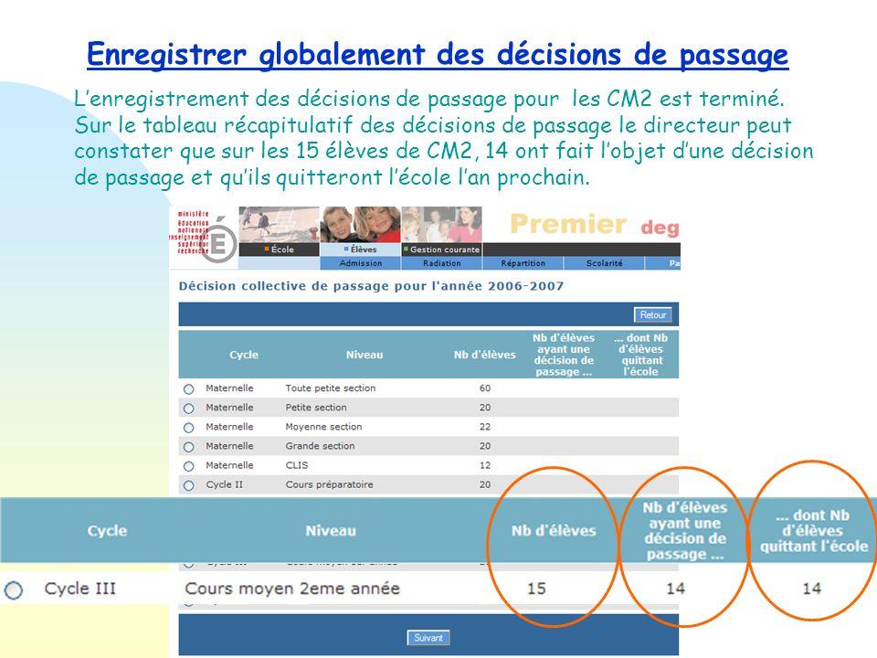 Enregistrer globalement des décisions de passage Le directeur confirme la radiation automatique à la rentrée prochaine des élèves qui passent en 6 ème