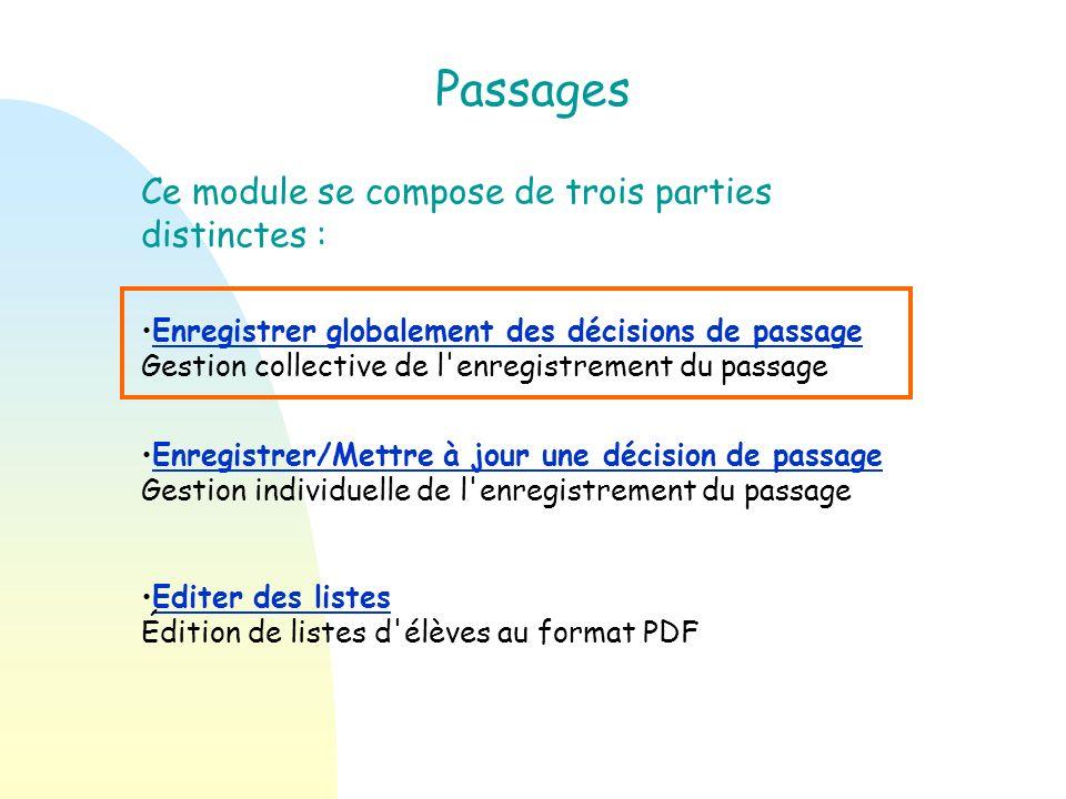 Avant propos Le module concernant les passages se trouve dans le menu élèves. Il est possible dy accéder soit en cliquant sur longlet « passages », so