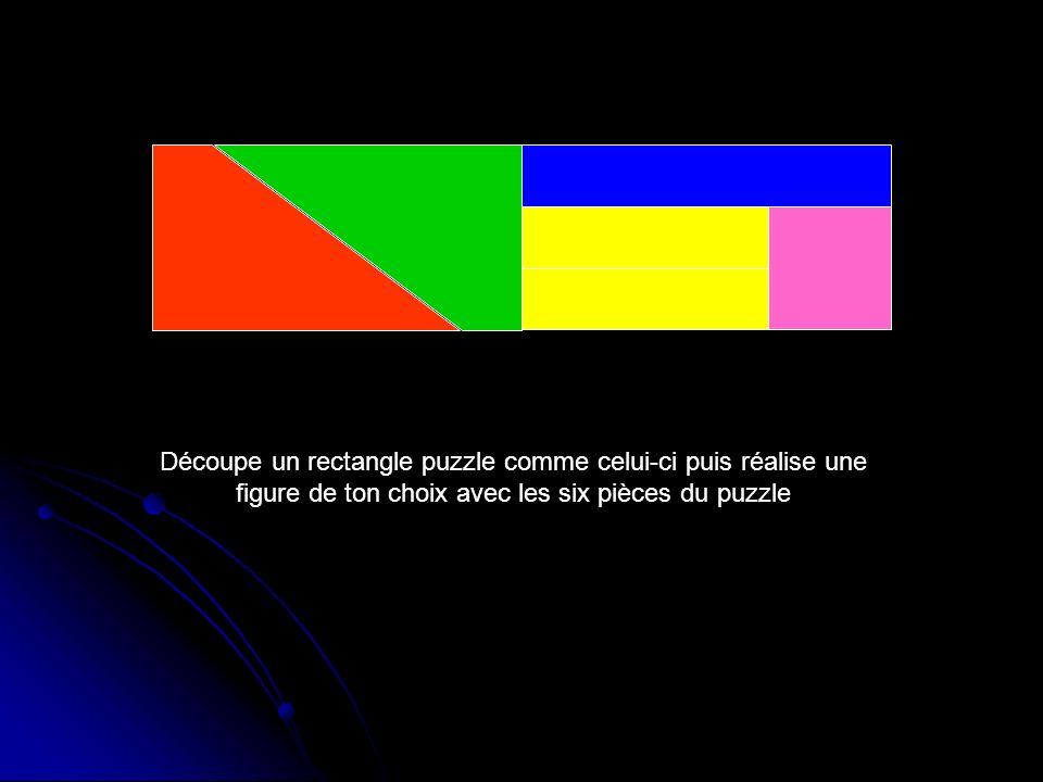Découpe un rectangle puzzle comme celui-ci puis réalise une figure de ton choix avec les six pièces du puzzle