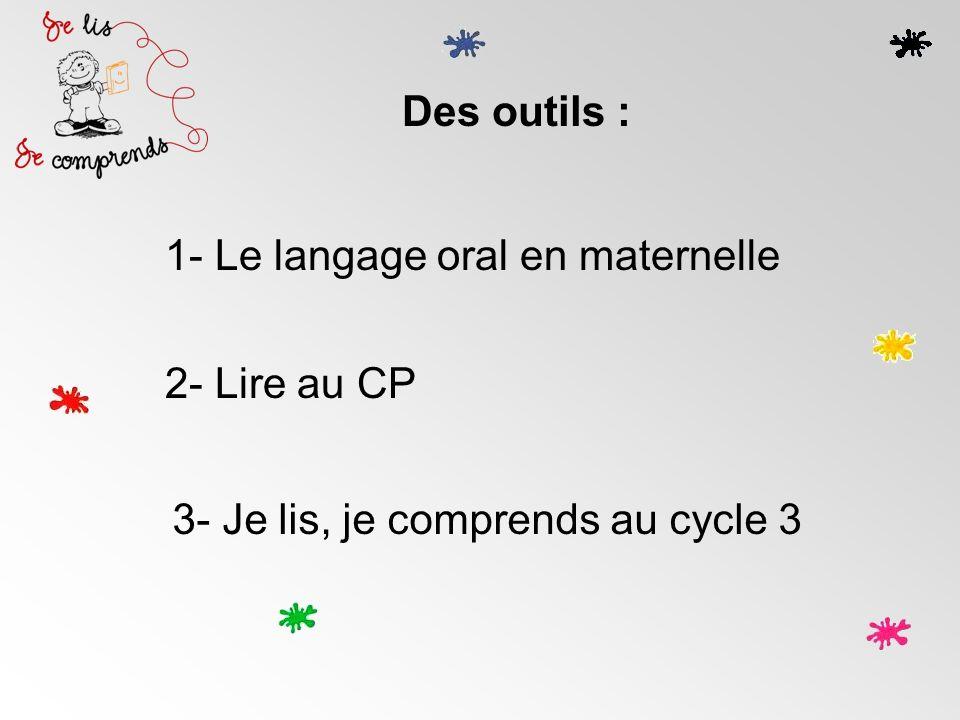 Des outils : 1- Le langage oral en maternelle 2- Lire au CP 3- Je lis, je comprends au cycle 3