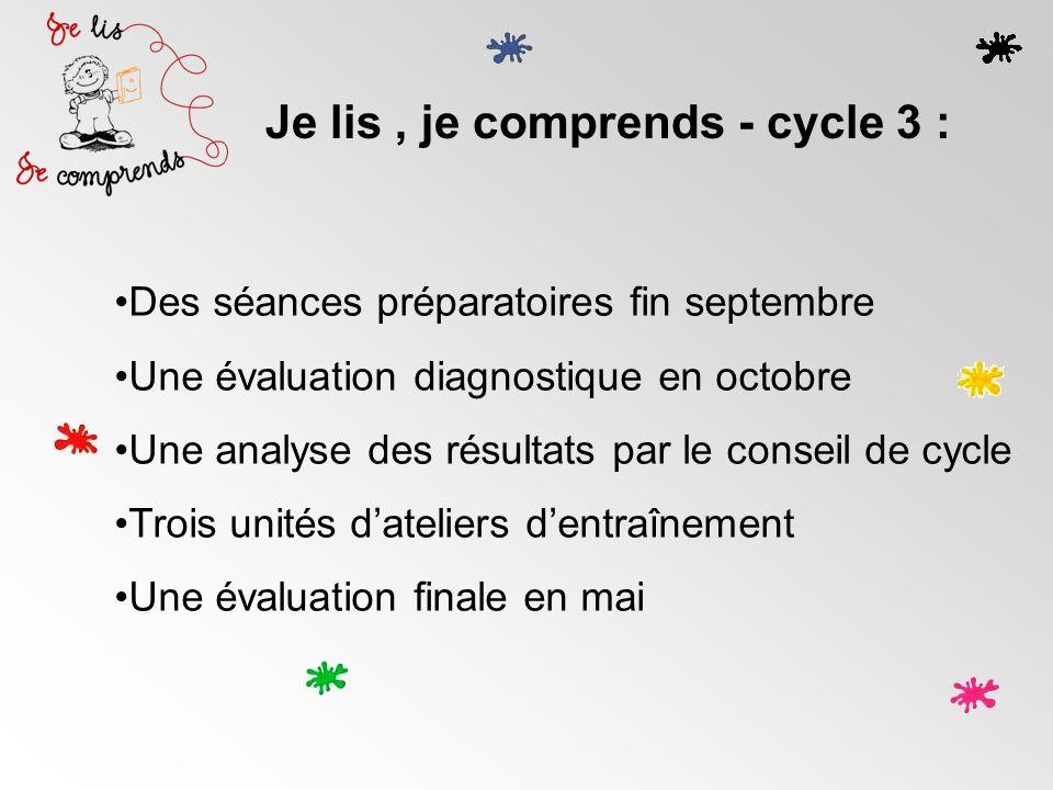 Je lis, je comprends - cycle 3 : Des séances préparatoires fin septembre Une évaluation diagnostique en octobre Une analyse des résultats par le conse