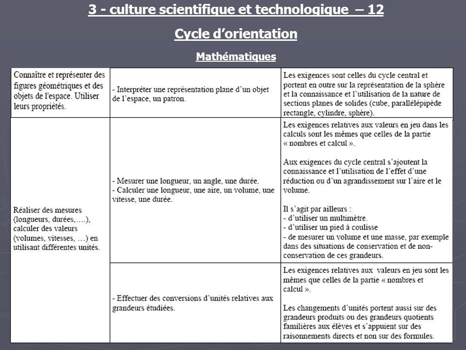 3 - culture scientifique et technologique – 12 Cycle dorientation Mathématiques