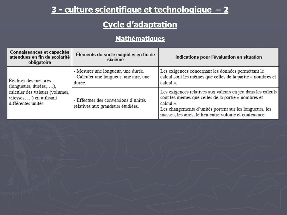 3 - culture scientifique et technologique – 2 Cycle dadaptation Mathématiques