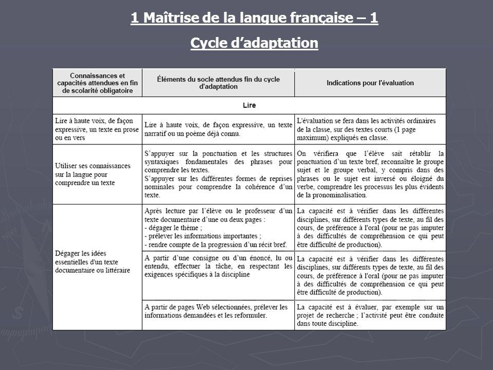 1 Maîtrise de la langue française – 1 Cycle dadaptation