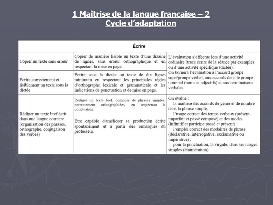 1 Maîtrise de la langue française – 2 Cycle dadaptation
