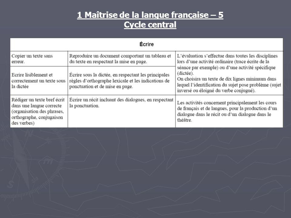 1 Maîtrise de la langue française – 5 Cycle central