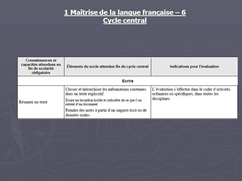 1 Maîtrise de la langue française – 6 Cycle central