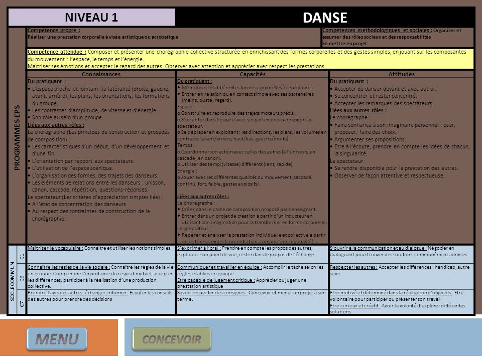 NIVEAU 1 DANSE PROGRAMMES EPS Compétence propre : Réaliser une prestation corporelle à visée artistique ou acrobatique Compétences méthodologiques et