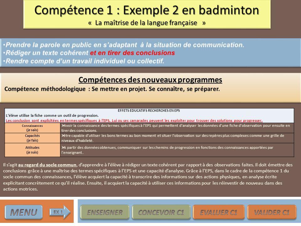 EFFETS EDUCATIFS RECHERCHES EN EPS Lélève utilise la fiche comme un outil de progression. Les conclusion sont explicitées en termes spécifiques à lEPS
