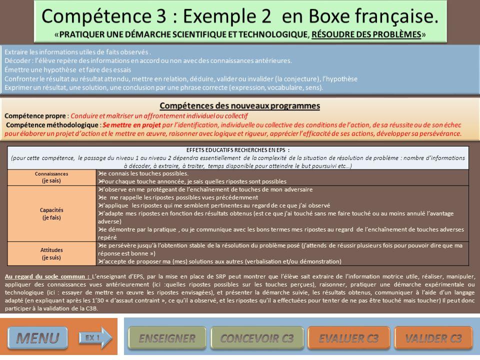 EFFETS EDUCATIFS RECHERCHES EN EPS : (pour cette compétence, le passage du niveau 1 au niveau 2 dépendra essentiellement de la complexité de la situat
