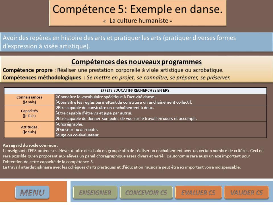 EFFETS EDUCATIFS RECHERCHES EN EPS Connaissances (je sais) Connaître le vocabulaire spécifique à lactivité danse. Connaître les règles permettant de c