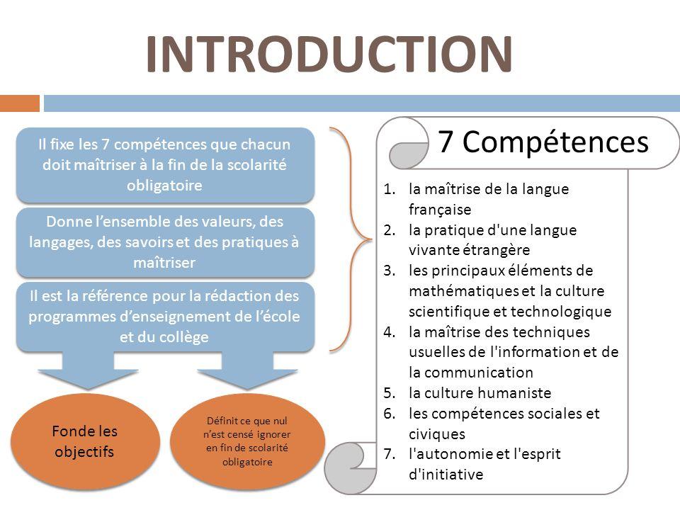 INTRODUCTION Il fixe les 7 compétences que chacun doit maîtriser à la fin de la scolarité obligatoire Il est la référence pour la rédaction des progra