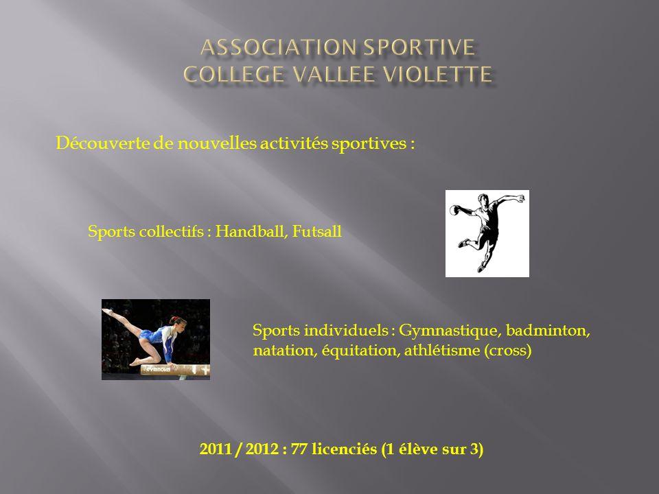 Découverte de nouvelles activités sportives : Sports collectifs : Handball, Futsall Sports individuels : Gymnastique, badminton, natation, équitation,