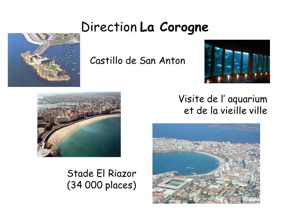 Direction La Corogne Castillo de San Anton Visite de l aquarium et de la vieille ville Stade El Riazor (34 000 places)