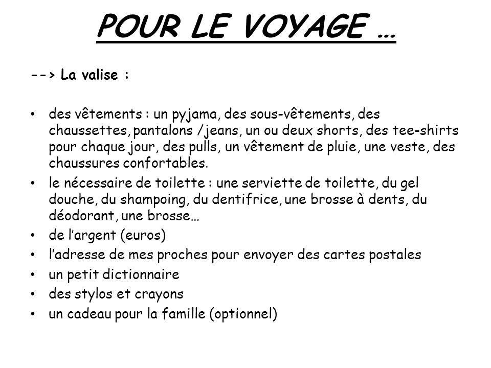 POUR LE VOYAGE … --> La valise : des vêtements : un pyjama, des sous-vêtements, des chaussettes, pantalons /jeans, un ou deux shorts, des tee-shirts p