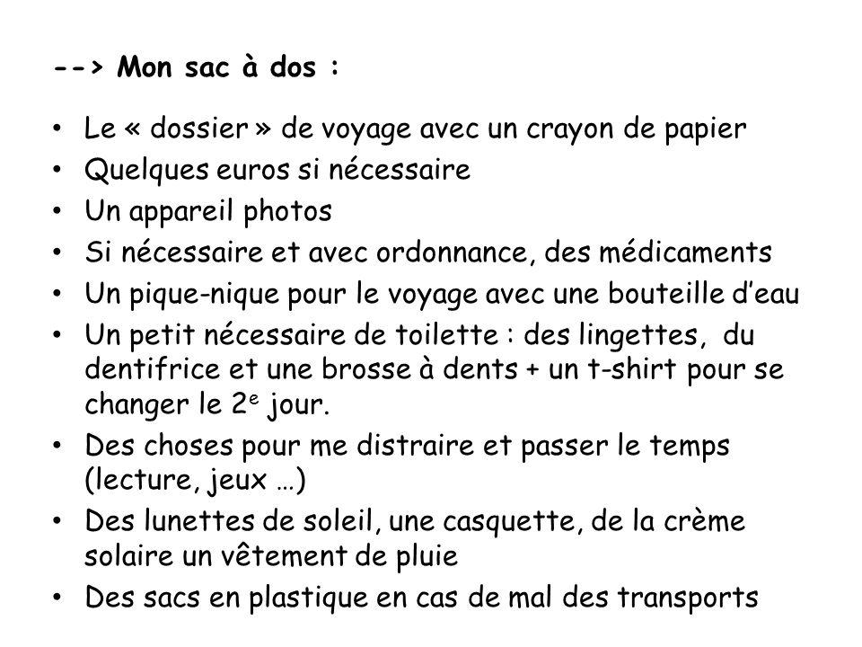 --> Mon sac à dos : Le « dossier » de voyage avec un crayon de papier Quelques euros si nécessaire Un appareil photos Si nécessaire et avec ordonnance