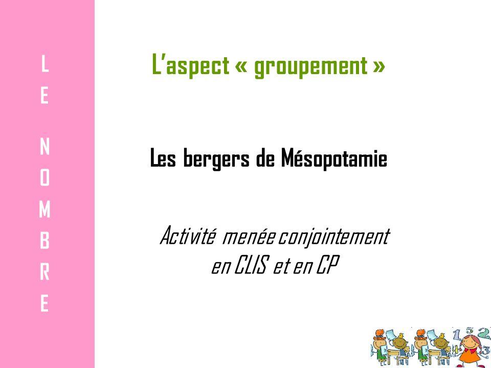 Laspect « groupement » LENOMBRELENOMBRE Les bergers de Mésopotamie Activité menée conjointement en CLIS et en CP