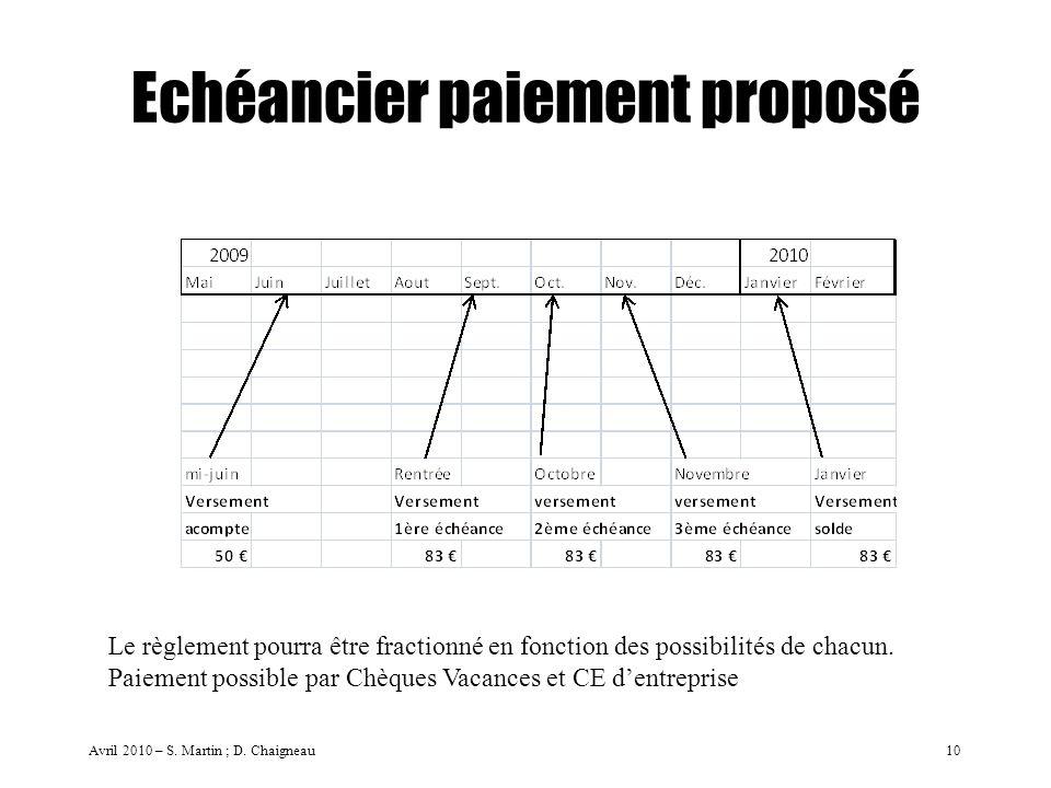Echéancier paiement proposé Avril 2010 – S. Martin ; D. Chaigneau10 Le règlement pourra être fractionné en fonction des possibilités de chacun. Paieme