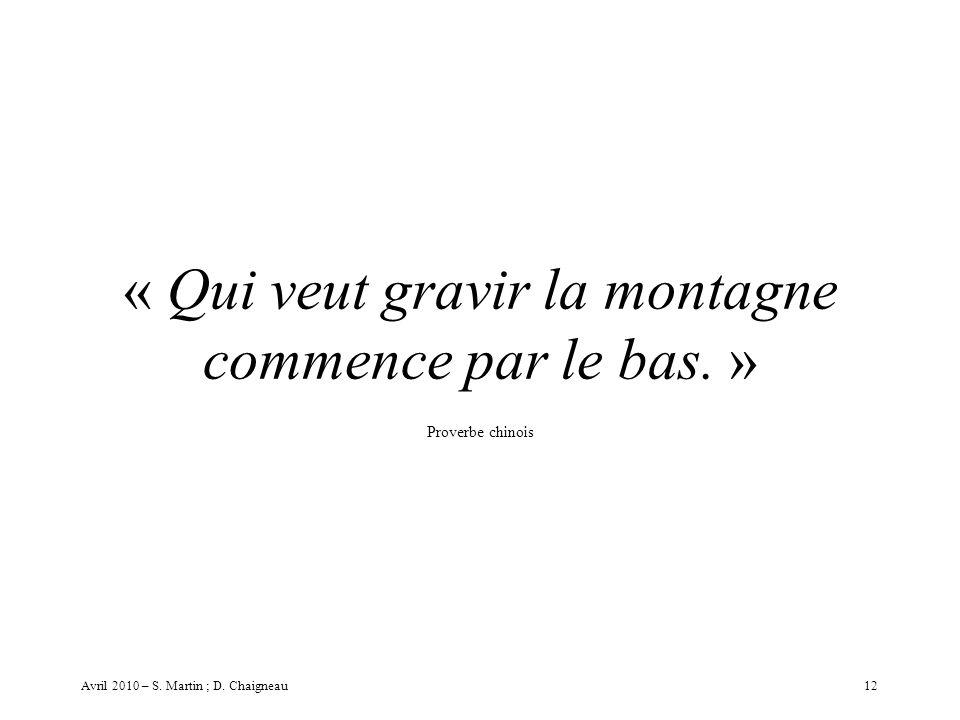 « Qui veut gravir la montagne commence par le bas. » Proverbe chinois 12Avril 2010 – S. Martin ; D. Chaigneau
